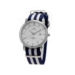 UNISILVER TIME UNISEX ZENTURIA NYLON STAINLESS STEEL NAVY/WHITE WATCH KW2157-1109 image here