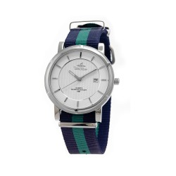 UNISILVER TIME UNISEX ZENTURIA NYLON STAINLESS STEEL NAVY/GREEN WATCH KW2157-1110 image here