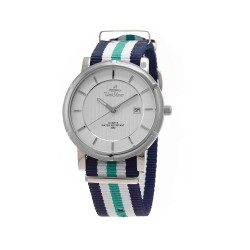 UNISILVER TIME UNISEX ZENTURIA NYLON STAINLESS STEEL NAVY/GREEN/WHITE WATCH KW2157-1111 image here