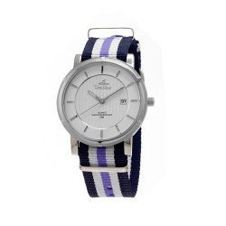 UNISILVER TIME UNISEX ZENTURIA NYLON STAINLESS STEEL NAVY/WHITE/LAVENDER WATCH KW2157-1114 image here