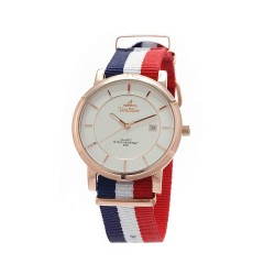 UNISILVER TIME UNISEX ZENTURIA NYLON ROSEGOLD STAINLESS STEEL NAVY/WHITE/RED WATCH KW2157-1401 image here