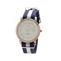 UNISILVER TIME UNISEX ZENTURIA NYLON ROSEGOLD STAINLESS STEEL NAVY/WHITE WATCH KW2157-1403 image here