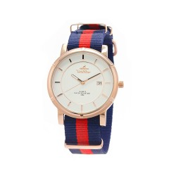 UNISILVER TIME UNISEX ZENTURIA NYLON ROSEGOLD STAINLESS STEEL NAVY/RED WATCH KW2157-1404 image here