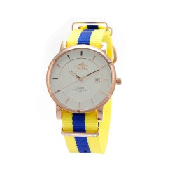 UNISILVER TIME UNISEX ZENTURIA NYLON ROSEGOLD STAINLESS STEEL YELLOW/BLUE WATCH KW2157-1405 image here