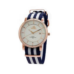 UNISILVER TIME UNISEX ZENTURIA NYLON ROSEGOLD STAINLESS STEEL NAVY/WHITE WATCH KW2157-1409 image here