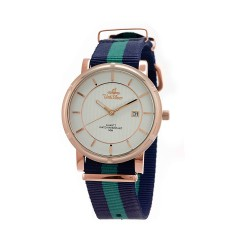 UNISILVER TIME UNISEX ZENTURIA NYLON ROSEGOLD STAINLESS STEEL NAVY/GREEN WATCH KW2157-1410 image here