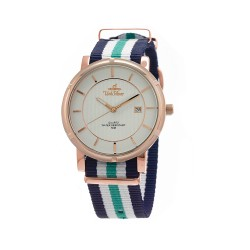 UNISILVER TIME UNISEX ZENTURIA NYLON ROSEGOLD STAINLESS STEEL NAVY/WHITE/GREEN WATCH KW2157-1411 image here