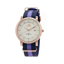 UNISILVER TIME UNISEX ZENTURIA NYLON ROSEGOLD STAINLESS STEEL NAVY/LAVENDER WATCH KW2157-1412 image here