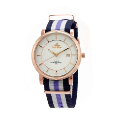 UNISILVER TIME UNISEX ZENTURIA NYLON ROSEGOLD STAINLESS STEEL NAVY/WHITE/LAVENDER WATCH KW2157-1414 image here