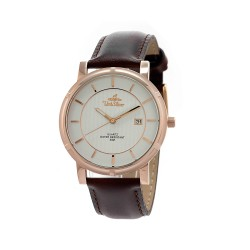 UNISILVER TIME UNISEX ZENTURIA BROWN LEATHER ROSEGOLD STAINLESS STEEL WATCH KW2157-1416 image here