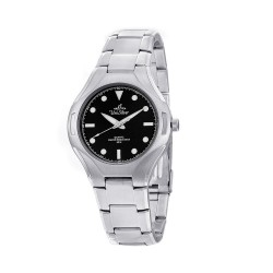 UNISILVER TIME GEO-VERGENCE MEN'S SILVER / BLACK ANALOG STAINLESS STEEL WATCH KW020-1102   image here