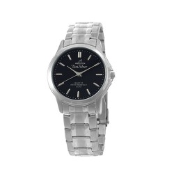 UNISILVER TIME MUNIZIO PAIR MEN'S SILVER / BLACK ANALOG STAINLESS STEEL WATCH KW096-1102   image here