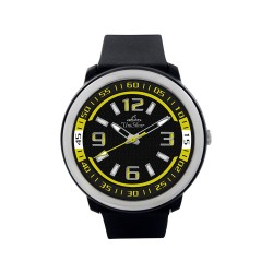 UNISILVER TIME UNISEX BLACK / YELLOW RUBBER WATCH KW1030-2102   image here