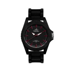 UNISILVER TIME BRICK-EDGE MEN'S BLACK / RED ANALOG RUBBER WATCH KW1323-2002 image here