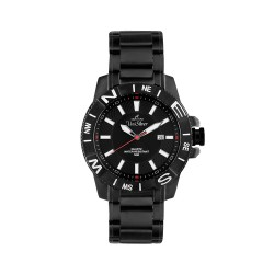 UNISILVER TIME VERZE MEN'S BLACK / WHITE / RED ANALOG STAINLESS STEEL WATCH KW1349-1103  image here