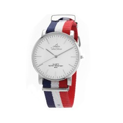 UNISILVER TIME UNISEX STYL-O-LOGY NYLON STAINLESS STEEL NAVY/WHITE/RED WATCH KW2155-1101 image here