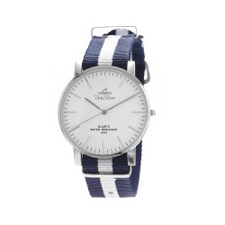 UNISILVER TIME UNISEX STYL-O-LOGY NYLON STAINLESS STEEL NAVY / WHITE WATCH KW2155-1103 image here