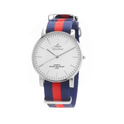 UNISILVER TIME UNISEX STYL-O-LOGY NYLON STAINLESS STEEL NAVY / RED WATCH KW2155-1104 image here