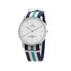 UNISILVER TIME UNISEX STYL-O-LOGY NYLON STAINLESS STEEL NAVY/WHITE/GREEN WATCH KW2155-1111 image here