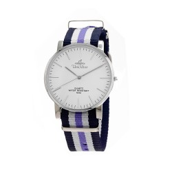 UNISILVER TIME UNISEX STYL-O-LOGY NYLON STAINLESS STEEL NAVY/WHITE/LAVENDER WATCH KW2155-1114 image here