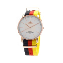 UNISILVER TIME UNISEX STYL-O-LOGY NYLON ROSE GOLD STAINLESS STEEL BLACK/RED/YELLOW WATCH KW2155-1402 image here