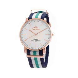 UNISILVER TIME UNISEX STYL-O-LOGY NYLON ROSE GOLD STAINLESS STEEL NAVY/WHITE/GREEN WATCH KW2155-1411 image here