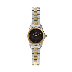 UNISILVER TIME LADIES' CLARITHEA ANALOG STAINLESS STEEL TWO-TONE / BLACK MOTHER-OF-PEARL  KW2151-2305 image here