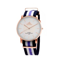 UNISILVER TIME UNISEX STYL-O-LOGY NYLON ROSE GOLD STAINLESS STEEL NAVY/WHITE/LAVENDER WATCH KW2155-1414 image here