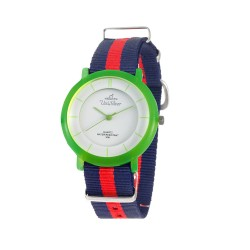 UNISILVER TIME UNISEX ZANITY-ZILCH ANALOG NYLON NAVY BLUE/RED/BRIGHT GREEN KW2160-2186 WATCH image here
