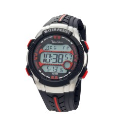 UNISILVER TIME MEN'S DYMO-BEATZ DIGITAL RUBBER BLACK / RED KW2249-1004 image here