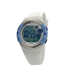 UNISILVER TIME UNISEX RHYTHMATE HEART RATE & PEDOMETER MONITOR RUBBER WHITE / LIGHT BLUE KW2168-1001 image here