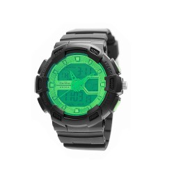 "UNISILVER TIME UNISEX ""DEERE"" ANALOG-DIGITAL RUBBER GREEN / BLACK KW1945-1004 WATCH image here"