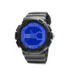 "UNISILVER TIME UNISEX ""DEERE"" ANALOG-DIGITAL RUBBER BLACK / BLUE KW1945-1005 WATCH image here"