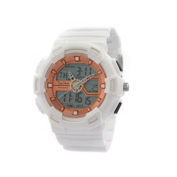 "UNISILVER TIME UNISEX ""DEERE"" ANALOG-DIGITAL RUBBER WHITE / ROSE GOLD KW1945-1007WATCH image here"
