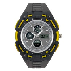 Hea Turbo Unisex Black/Yellow Rubber Watch Kha1833-1002   image here