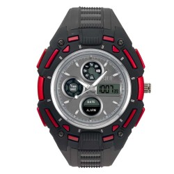Hea Turbo Unisex Black/Red Rubber Watch Kha1833-1004   image here