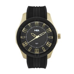 Hea Pirell Unisex Black/Gold Rubber Watch Kha1871-1001 image here