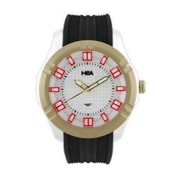Hea Pirell Unisex Black/White/Gold Rubber Watch Kha1871-1002 image here