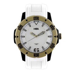 Hea Chex Unisex White/Gold Rubber Watch Kha1872-1001 image here