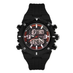 Hea Mark Baracael's Cyclone Unisex Black/Red Rubber Watch Kha1946-1001    image here