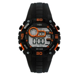 HEA AIZA SEGUERRA'S UNISEX BLACK/ORANGE RUBBER WATCH KHA2273-1002   image here