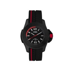 HEA JOSHUA JOFFE'S MEN'S BLACK/RED RUBBER WATCH KHA2252-1004   image here