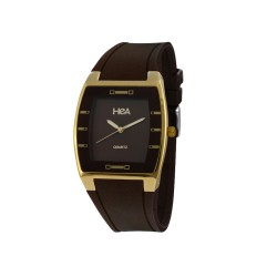 HEA SQUIRCLE UNISEX BROWN/GOLD RUBBER WATCH KHA2372-1211   image here