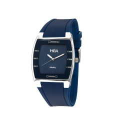 HEA SQUIRCLE UNISEX BLUE/SILVER RUBBER WATCH KHA2372-1103   image here