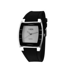HEA SQUIRCLE UNISEX BLACK/SILVER RUBBER WATCH KHA2372-1101   image here