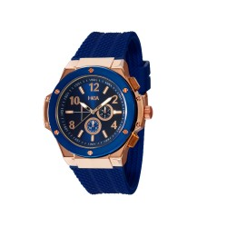 HEA ELLIOT UNISEX BLUE/ROSE GOLD RUBBER WATCH KHA2369-1413(BLUE)   image here