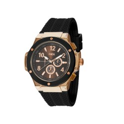 HEA ELLIOT UNISEX BLACK/ROSE GOLD RUBBER WATCH KHA2369-1411(BLACK) image here