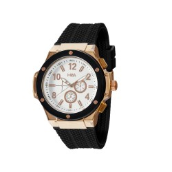 HEA ELLIOT UNISEX BLACK/ROSE GOLD RUBBER WATCH KHA2369-1410(BLACK)   image here