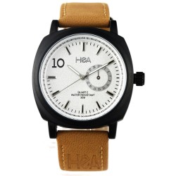 HEA LIZA DIÑO-SEGUERRA'S PIAZZA UNISEX BEIGE/BLACK LEATHER WATCH KHA2038-1002   image here