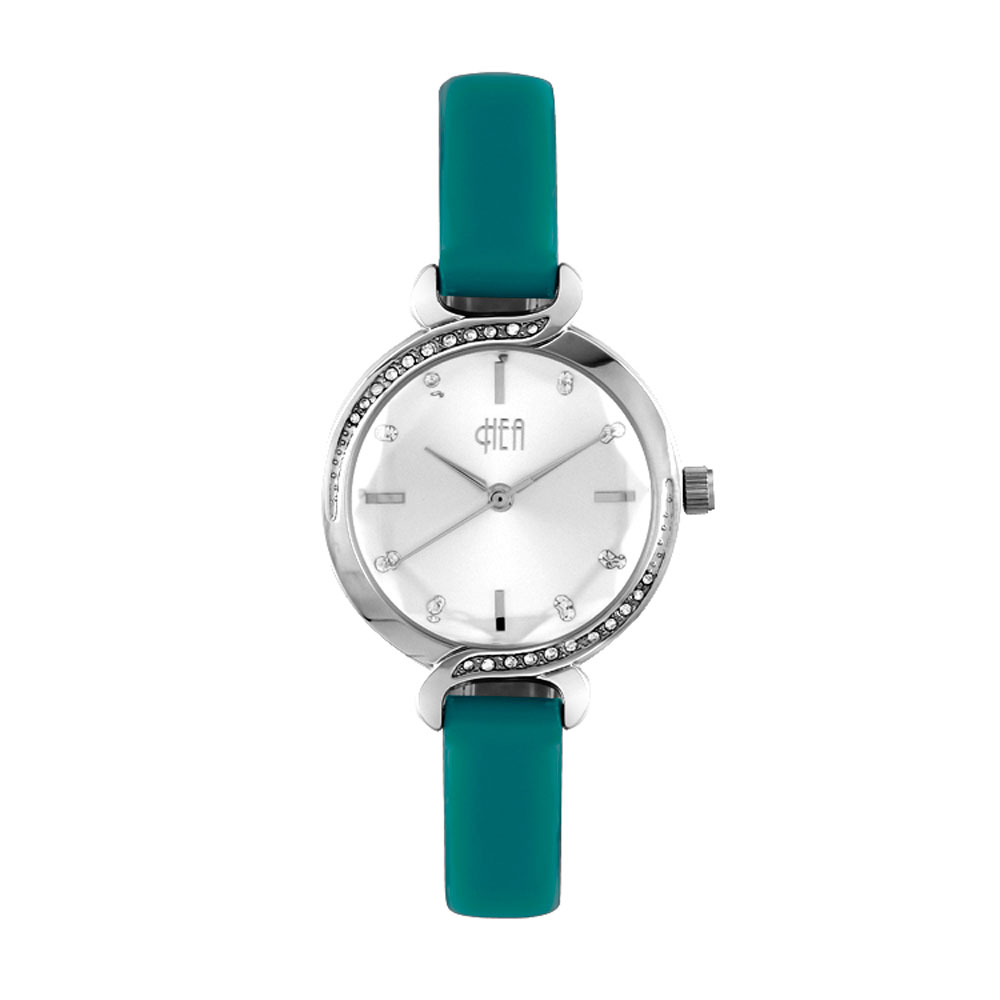 Hea Elgante Women's Blue Green Leather Watch Kha1861-2004 image here